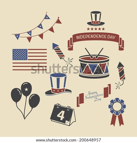 American independence day 4 july. Vector eps 10 - stock vector