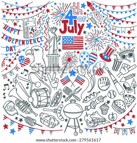 American Independence Day themed doodle set. National symbols of Fourth of July, festival traditional attributes and decorations, popular activities,  food and snacks. Isolated over white background. - stock vector