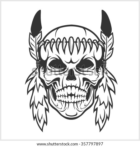 American Indian Chief Skull isolated in white - stock vector
