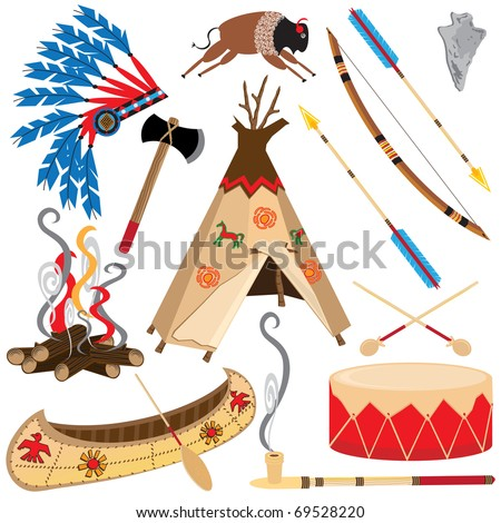 American Indian Clipart Icons and Elements, isolated on white - stock vector