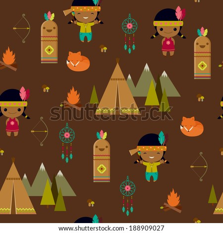 American indian clipart seamless wallpaper - stock vector