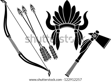 american indian headdress, tomahawk and bow. stencil. vector illustration - stock vector