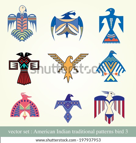 American Indian traditional patterns bird 3 - stock vector