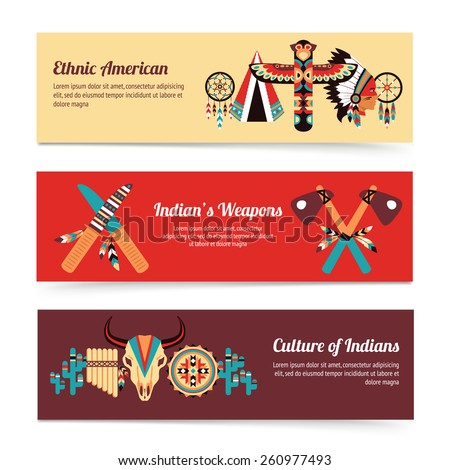 American indigenous people cultural concept horizontal banners set with traditional native tomahawk hatchet weapon abstract vector illustration - stock vector
