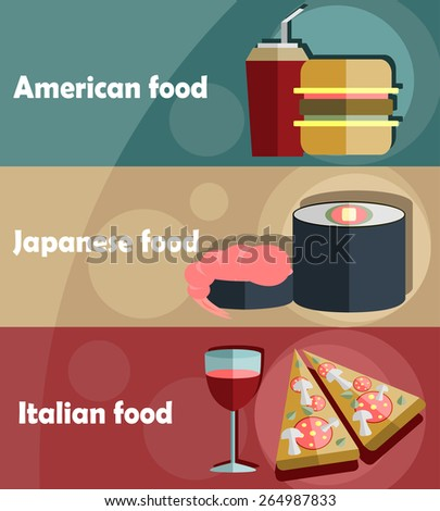 American, Japanese and Italian food flat background. - stock vector