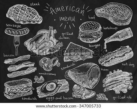 American menu on chalkboard background, steak, sausage, bacon, sandwich, mushroom, grilled chiken, eggs, eggs and bacon, grill, grilled ribs, ribs, ham, hot dog, burger, ketchup - stock vector