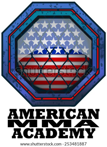 American MMA Academy Octagon Sign, Vector Illustration isolated on White Background. - stock vector