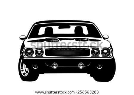 American muscle car legend silhouette vector illustration - stock vector