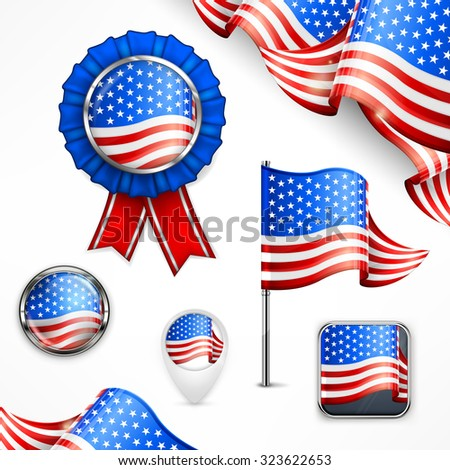 American national symbols, flag, banner, badge and icon on white, vector illustration - stock vector