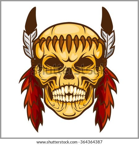 American native chief skull -  vintage vesign isolated on white - stock vector