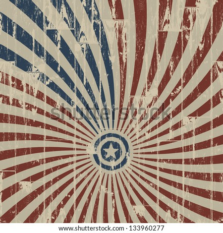 American patriotic abstract background on wooden texture. Vector illustration, EPS 10 - stock vector