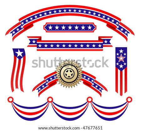 American patriotic ribbons set for design and decorate. Jpeg version is also available - stock vector