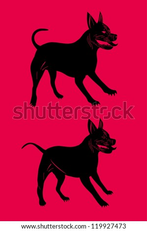 American Pit bull dog - stock vector