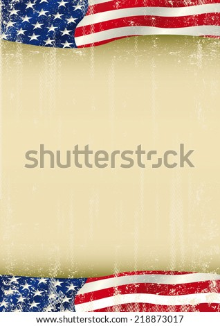 American poster waving grunge flag. A vertical american waving flag with a large copy space for your message on this poster. - stock vector