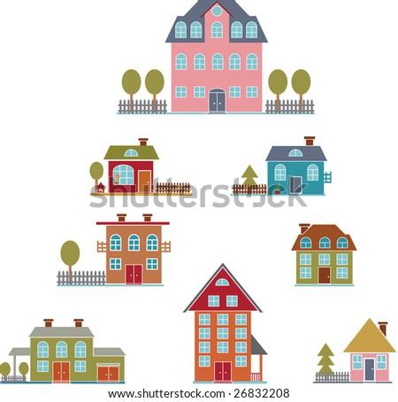 american premium luxury houses set -vector easy edit - stock vector
