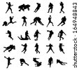 American Rugby Football Black Silhouettes Vector Illustration - stock vector