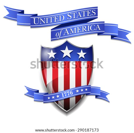 American Shield and United States of America Scroll - Scrolls Glossy American Flag on Shield Icon - stock vector