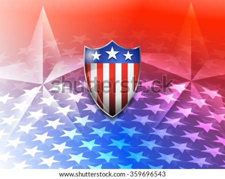 American Shield on a Stars America Background - stock vector