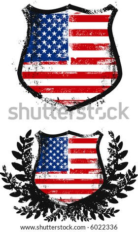 American shields, two models - stock vector