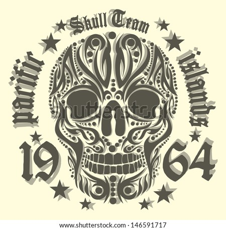 american skull vector art - stock vector