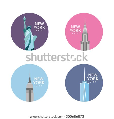 American skyscrapers and Statue of Liberty - stock vector