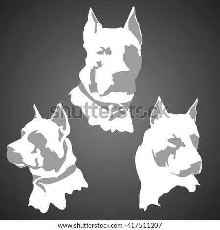 American Staffordshire Terrier silhouette. Vector banner - stock vector