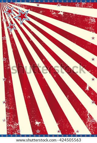 American theme. A background with red sunbeams and an used texture effect (American theme) - stock vector