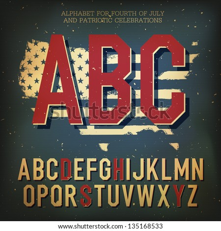 American themed alphabet. With elements for Independence Day, vector, EPS10 - stock vector