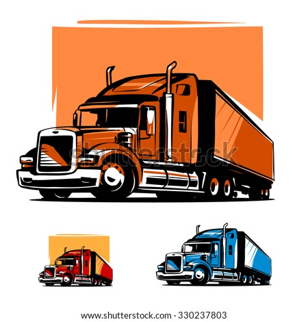 American Truck Trailer illustration - stock vector