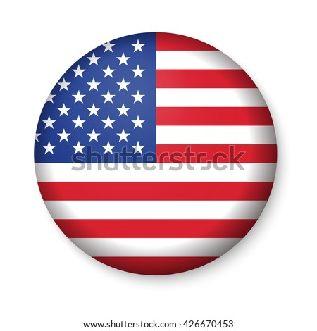 American United States Flag in glossy round button of icon. USA emblem isolated on white background. National concept sign. Independence Day Symbol. 4 July freedom patriotic banner with pride color - stock vector