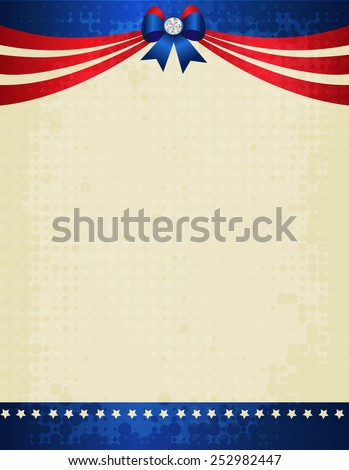American / USA grunge halftone patterned patriotic frame with ribbon banner and bow with crystal on top. A traditional vintage american poster design - stock vector