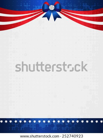 American / USA grunge patriotic frame with ribbon banner and bow with crystal on top. A traditional vintage american poster design - stock vector