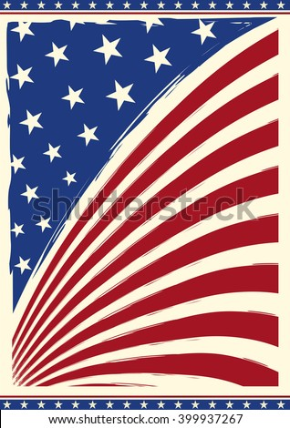 american vintage flag. American grunge flag on a background for you - stock vector