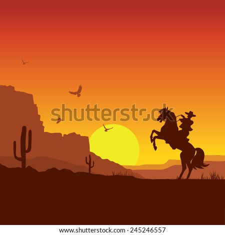 American wild west desert with cowboy on horse.Vector sunset landscape - stock vector