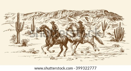 American wild west desert with cowboys - hand drawn illustration - stock vector