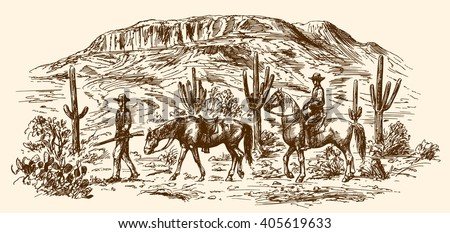 American wild west desert with cowboys. Hand drawn illustration - stock vector