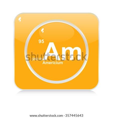 americium chemical element button - stock vector