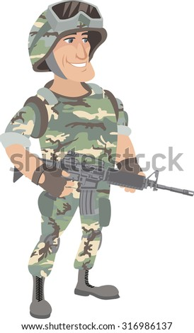 ameriran soldier - stock vector