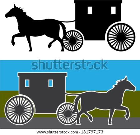 Amish Wagon - stock vector