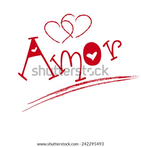 Amor hand lettering -- handmade calligraphy, vector - stock vector