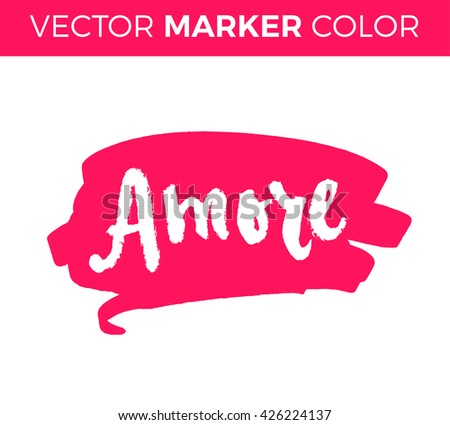Amore. Love in Italian. Hand lettering calligraphy marker in hearts background. Vector for romantic cards for Valentines day or wedding. - stock vector