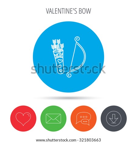 Amour arrows with bow icon. Cupid love symbol. Mail, download and speech bubble buttons. Like symbol. Vector - stock vector