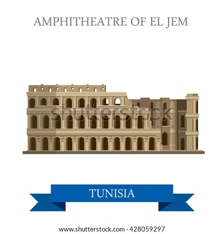 Amphitheatre of El Jem in Tunisia. Flat cartoon style historic sight showplace attraction web site vector illustration. World countries cities vacation travel sightseeing Africa collection. - stock vector