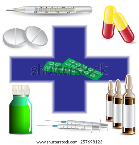ampule, tablet, syringe, thermometer, capsule - stock vector