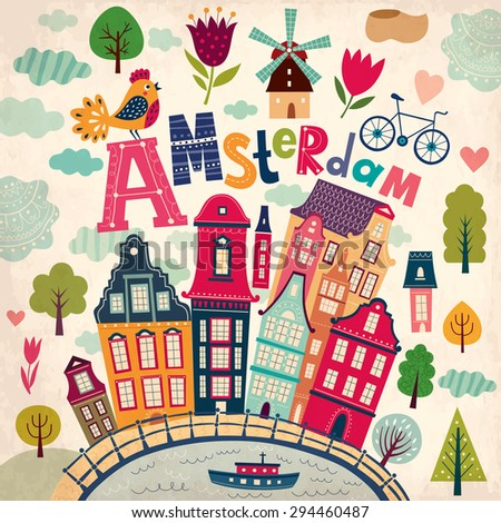 Amsterdam. - stock vector