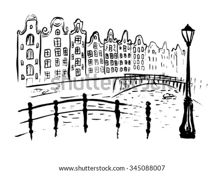 Amsterdam canals with bridge and houses in Holland. Ink hand drawn outline sketch isolated on white - stock vector