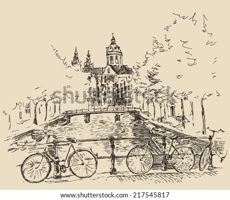 Amsterdam, city architecture, vintage engraved illustration, hand drawn, sketch - stock vector
