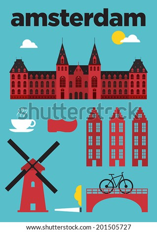 Amsterdam City Icons Poster Design  - stock vector