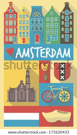 amsterdam cultural icons on travel poster. city symbols for postcards, cardboards, posters - stock vector