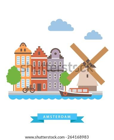 Amsterdam flat background vector - stock vector